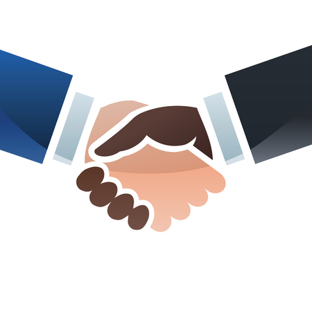 sealing: Handshake sealing a deal. Colorful illustration of two hands with different skin colors. Illustration