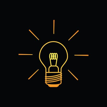 tungsten: Light bulb icon shining brightly in yellow orange colors on a black background. Minimalistic design.