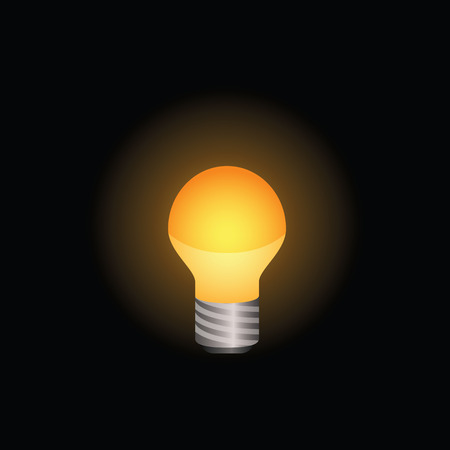 Light bulb icon shining brightly. Colored version on a black background. . Illustration