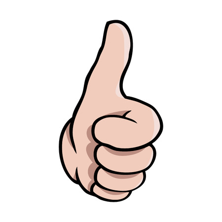 Human cartoon hand showing a thumbs up gesture