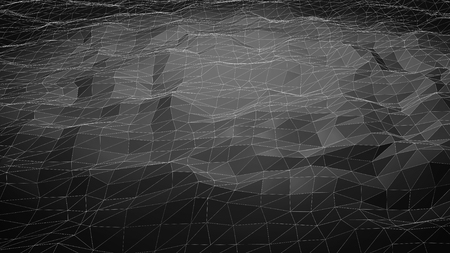 relief: Black abstract polygonal background with wireframe lines. Computer generated 3d still.