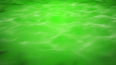 Green water background with calm waves. Computer generated still.