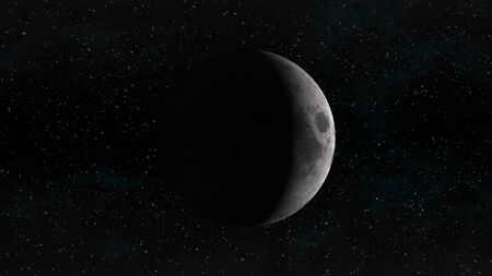 crescent: The Moon in waxing crescent phase on a background of stars. Digital illustration. Moon texture is public domain provided by NASA.