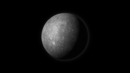 domain: Planet Mercury on a black background. Digital illustration. Mercury texture is public domain provided by NASA.