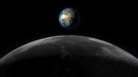 地球は、黒い背景に完全なビューで、月の地平線上に上昇します。デジタル 3 D イラストレーション。この図の要素は、NASA に用意されています。