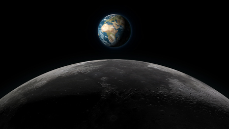 Planet Earth rising over the Moon horizon, in full view on a black background. Digital 3D illustration. Elements of this illustration are furnished by NASA. Stock Photo