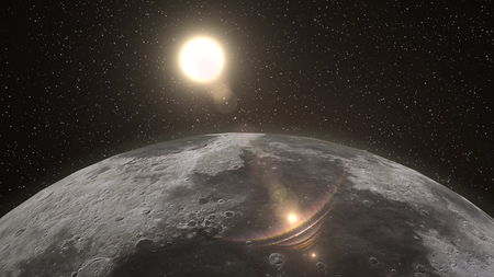 fully: Sunrise over the Moon horizon, with the sun fully lighting the Moon surface. Elements of this 3d illustration are furnished by NASA. Stock Photo
