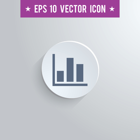 Stylish bar chart icon. Blue colored symbol on a white circle with shadow on a gray background. EPS10 with transparency.