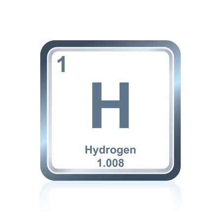 Symbole de l'hydrogène chimique comme on l'a vu sur le tableau périodique des éléments, y compris le nombre atomique et le poids atomique. Vecteurs