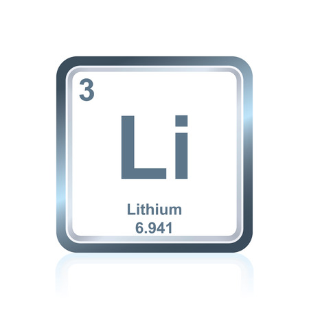 Symbol of chemical element lithium as seen on the Periodic Table of the Elements, including atomic number and atomic weight.