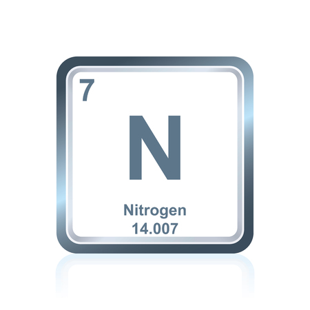 Symbol Of Chemical Element Nitrogen As Seen On The Periodic Table