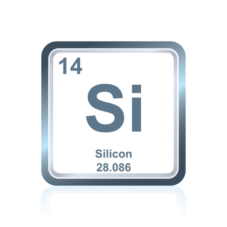Symbol of chemical element silicon as seen on the Periodic Table of the Elements, including atomic number and atomic weight.