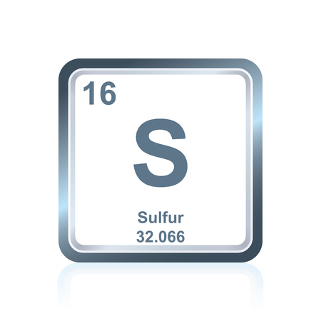 Symbol of chemical element sulfur as seen on the Periodic Table of the Elements, including atomic number and atomic weight.