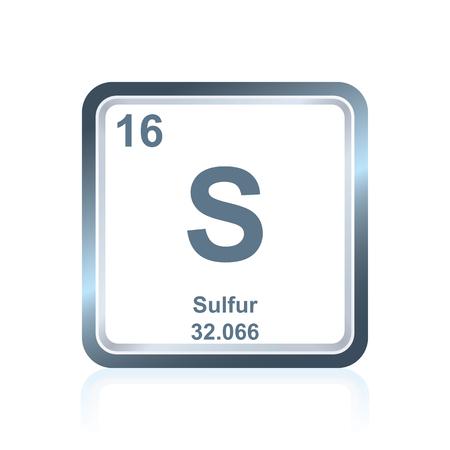 Symbool van zwavel van chemisch element zoals te zien op het periodiek systeem der elementen, inclusief atoomnummer en atoomgewicht.