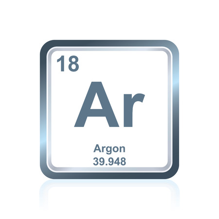 argon: Symbol of chemical element argon as seen on the Periodic Table of the Elements, including atomic number and atomic weight.
