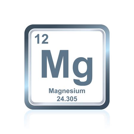Simbolo di magnesio elemento chimico come visto nella tavola periodica degli elementi, compreso il numero atomico e il peso atomico.