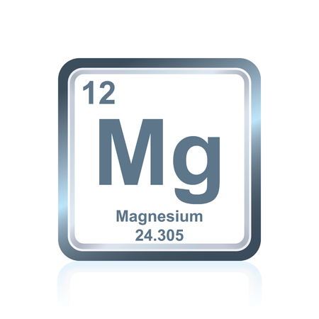Symbol of chemical element magnesium as seen on the Periodic Table of the Elements, including atomic number and atomic weight.