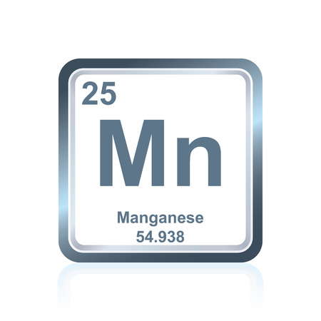 Symbol of chemical element manganese as seen on the Periodic Table of the Elements, including atomic number and atomic weight. Illustration