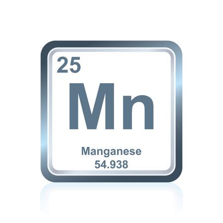 Symbol des chemischen Elements Mangan aus dem Periodensystem der Elemente, einschließlich Ordnungszahl und Atomgewicht. Standard-Bild - 79983796