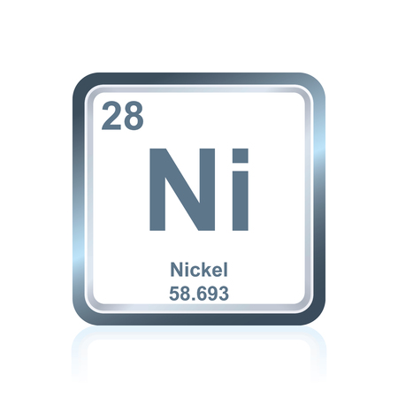 원자 번호와 원자량을 포함하는 원소의 주기율표에서 볼 수 있듯이 화학 원소 니켈의 상징. 일러스트