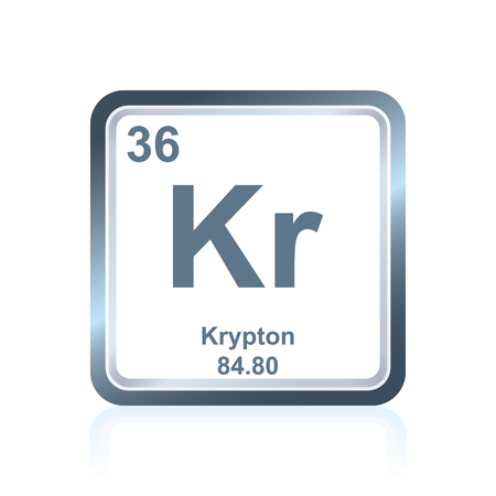 Symbol of chemical element krypton as seen on the Periodic Table of the Elements, including atomic number and atomic weight. Illustration