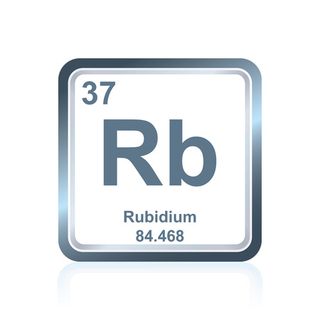 Symbol of chemical element rubidium as seen on the Periodic Table of the Elements, including atomic number and atomic weight.