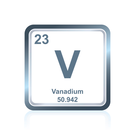 Symbol of chemical element vanadium as seen on the Periodic Table of the Elements, including atomic number and atomic weight. Illustration