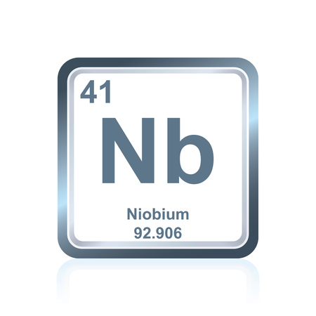 Symbol of chemical element niobium as seen on the Periodic Table of the Elements, including atomic number and atomic weight.