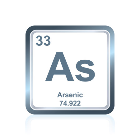 arsenic: Symbol of chemical element arsenic as seen on the Periodic Table of the Elements, including atomic number and atomic weight. Illustration