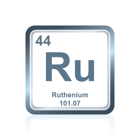 Symbol of chemical element ruthenium as seen on the Periodic Table of the Elements, including atomic number and atomic weight.