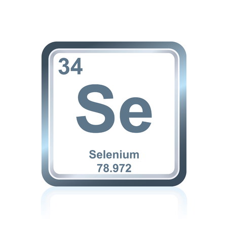 Symbol of chemical element selenium as seen on the Periodic Table of the Elements, including atomic number and atomic weight.