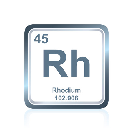Symbol of chemical element rhodium as seen on the Periodic Table of the Elements, including atomic number and atomic weight.
