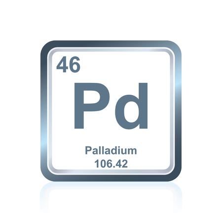 Symbol of chemical element palladium as seen on the Periodic Table of the Elements, including atomic number and atomic weight.