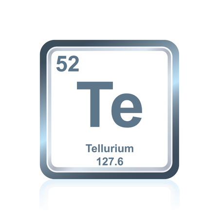 Symbol of chemical element tellurium as seen on the Periodic Table of the Elements, including atomic number and atomic weight. Illustration