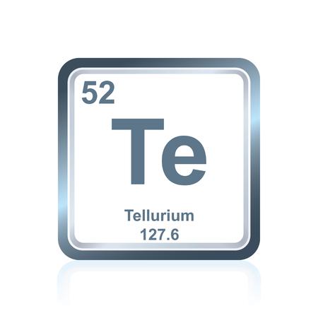 Symbol des chemischen Elementes Tellur, wie auf dem Periodensystem der Elemente, einschließlich der Atomzahl und des Atomgewichts gesehen. Standard-Bild - 80109034