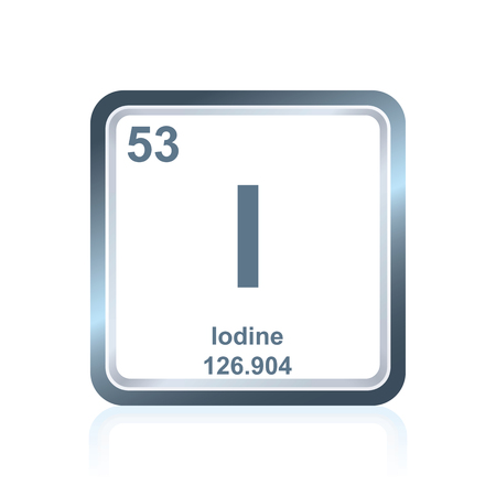 Symbol of chemical element iodine as seen on the Periodic Table of the Elements, including atomic number and atomic weight.