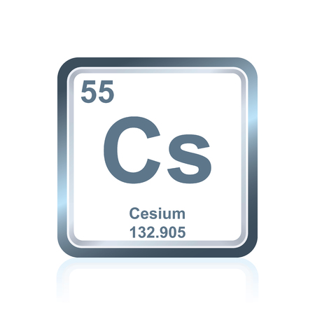 Symbol of chemical element cesium as seen on the Periodic Table of the Elements, including atomic number and atomic weight. Illustration