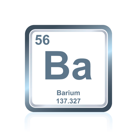 Symbol of chemical element barium as seen on the Periodic Table of the Elements, including atomic number and atomic weight.