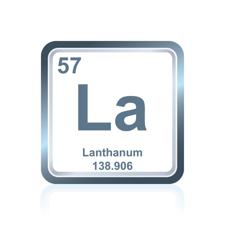 lanthanide: Symbol of chemical element lanthanum as seen on the Periodic Table of the Elements, including atomic number and atomic weight.