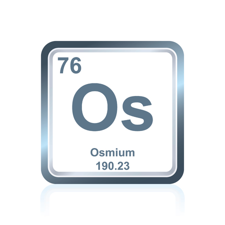 Symbol of chemical element osmium as seen on the Periodic Table of the Elements, including atomic number and atomic weight.