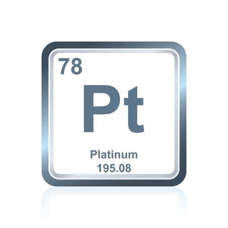 Symbol of chemical element platinum as seen on the Periodic Table of the Elements, including atomic number and atomic weight.