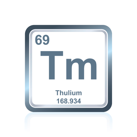 lanthanide: Symbol of chemical element thulium as seen on the Periodic Table of the Elements, including atomic number and atomic weight.