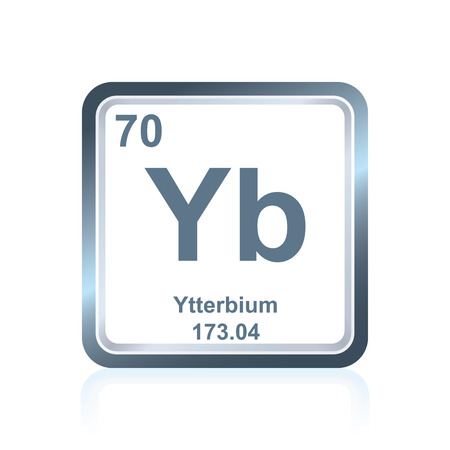 lanthanide: Symbol of chemical element ytterbium as seen on the Periodic Table of the Elements, including atomic number and atomic weight.