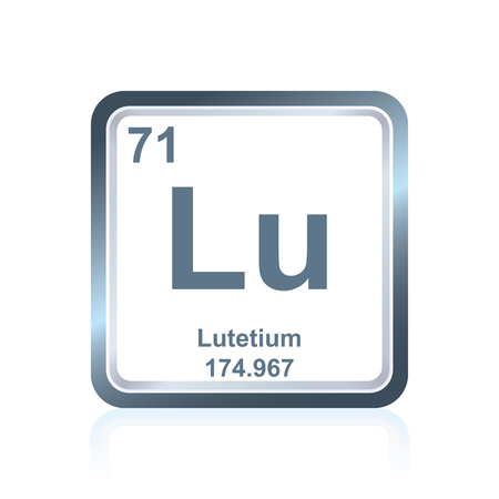 lanthanide: Symbol of chemical element lutetium as seen on the Periodic Table of the Elements, including atomic number and atomic weight.