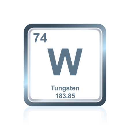 Symbol of chemical element tungsten as seen on the Periodic Table of the Elements, including atomic number and atomic weight.