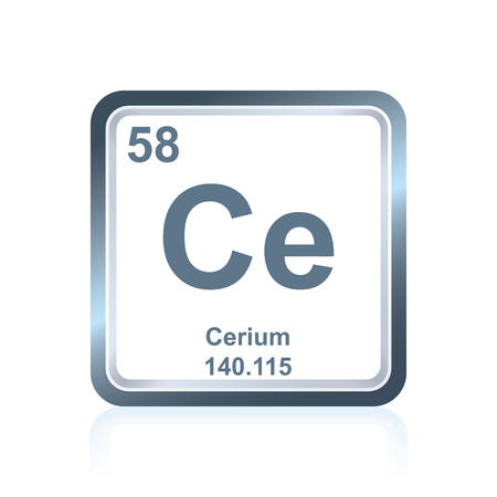 Symbol of chemical element cerium as seen on the Periodic Table of the Elements, including atomic number and atomic weight.