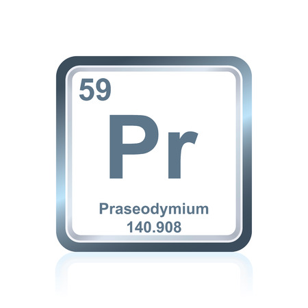 lanthanide: Symbol of chemical element praseodymium as seen on the Periodic Table of the Elements, including atomic number and atomic weight.