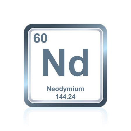lanthanide: Symbol of chemical element neodymium as seen on the Periodic Table of the Elements, including atomic number and atomic weight.