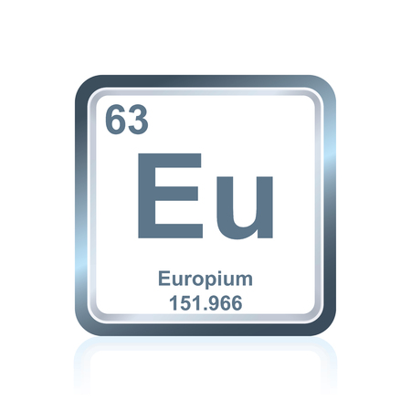 Symbol of chemical element europium as seen on the Periodic Table of the Elements, including atomic number and atomic weight. Illustration