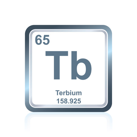 lanthanide: Symbol of chemical element terbium as seen on the Periodic Table of the Elements, including atomic number and atomic weight. Illustration